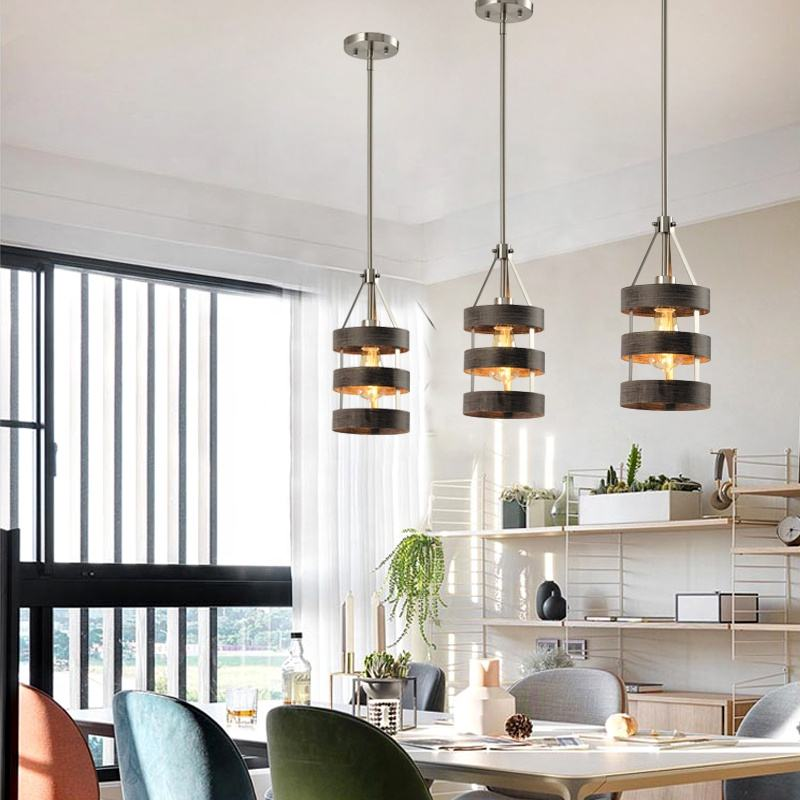 Traditional Living Room Kitchen Hanging Fixtures Black Lampshade Modern Industrial Pendant Lamp