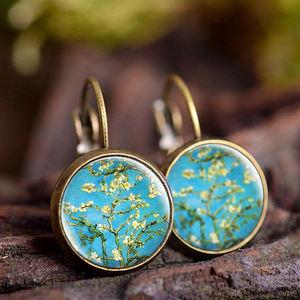 Sunflower Stud Earrings Glass Cabochon Fashion Bronze Jewelry Findings Simple Style Flower Earrings Girl Women Gifts