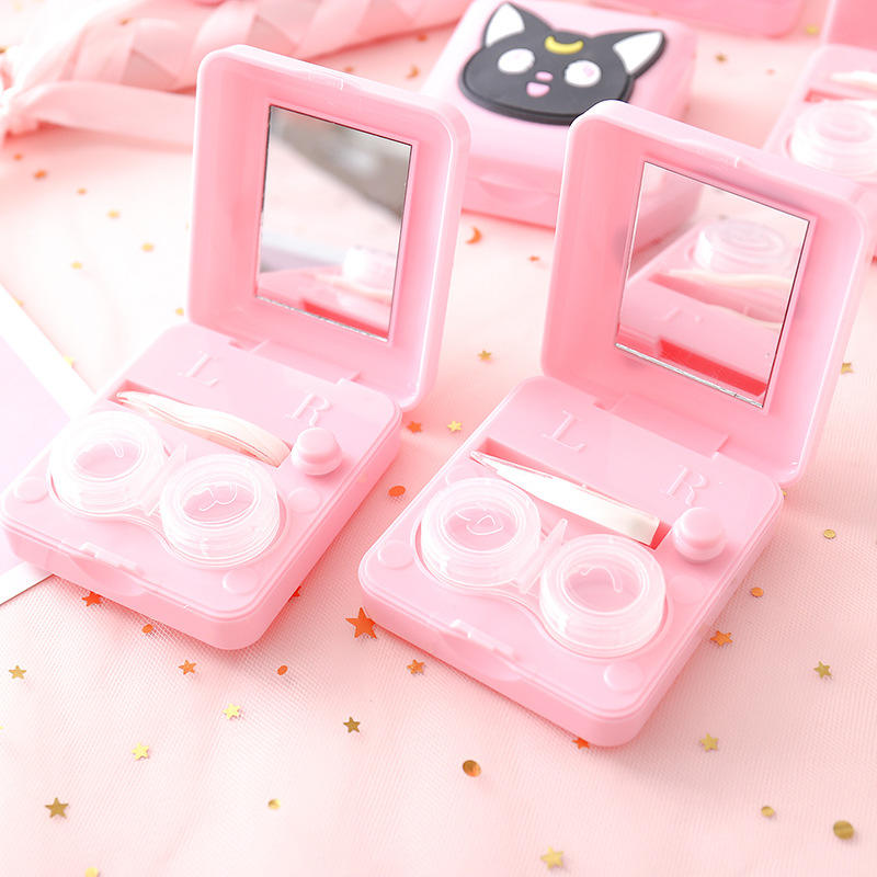 Pink Kawaii Automatic Cleaning Contact Lens Case With Mirror Used Battery Plastic Waterproof Boxes Cleaner for Girls Baby Women