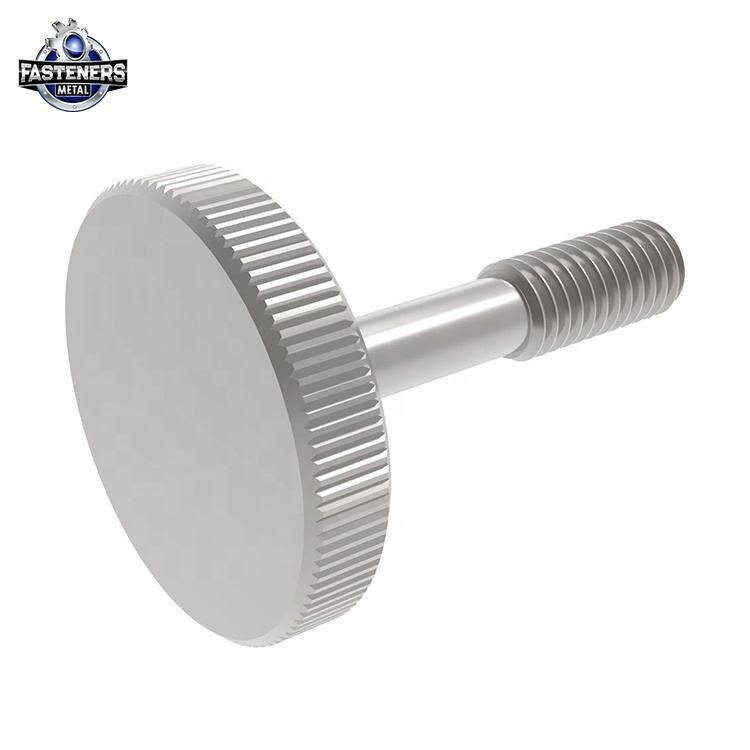 Round large head stainless steel alloy knurled captive thumb screws