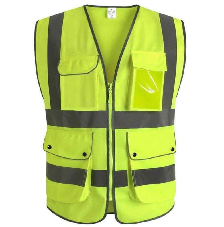 High Visibility Zipper Front Breathable Safety Vest with Reflective Strips Neon Color