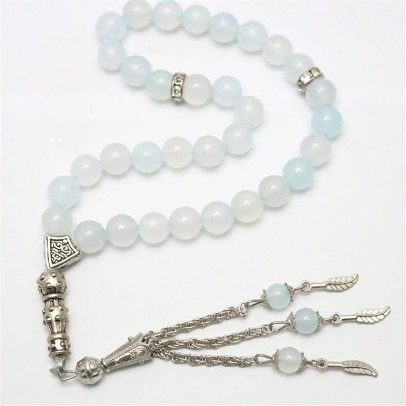 Wholesale White Jade Prayer Beads 33 Beads Tasbih Alloy Tassel