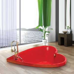 Fancy Heart Shape Red Color Embedded Hotel Bath Tub