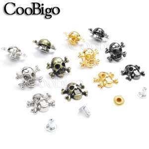 200 Pcs Skull Cross Bone Rivet Studs Spikes Punk 12X14.5 Mm Diy Leather Craft Voor Kleding Kleding Schoen tas Accessoires # GZ150-12