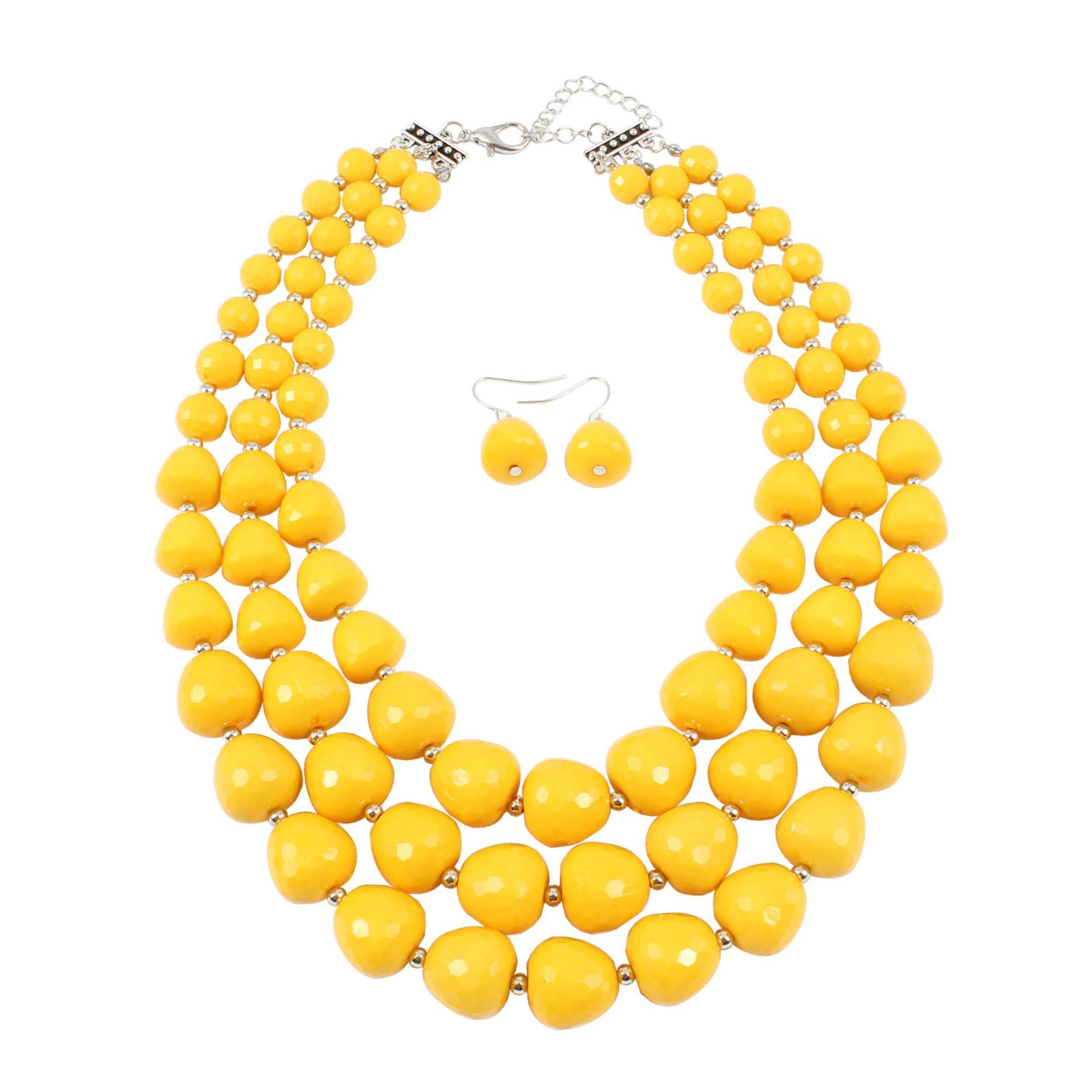 Multilayer handmade exaggerated statement Yellow Acrylic beaded necklace for women
