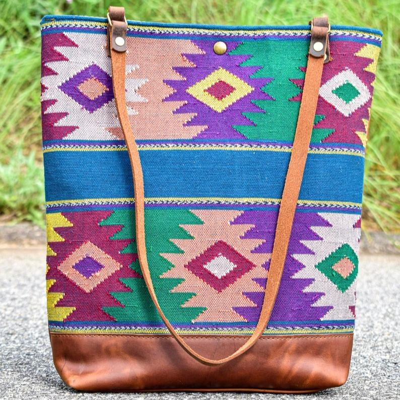 Large Leather Purse Shoulder Tote For Women, Tamra Textiles, Hand Woven ,Cross body Bag ILU-0034