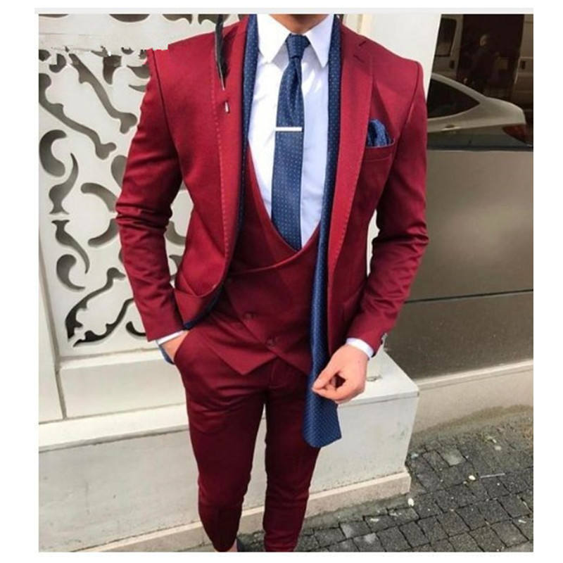 Latest Design Wedding Red Three Piece Party Men Suit WF791