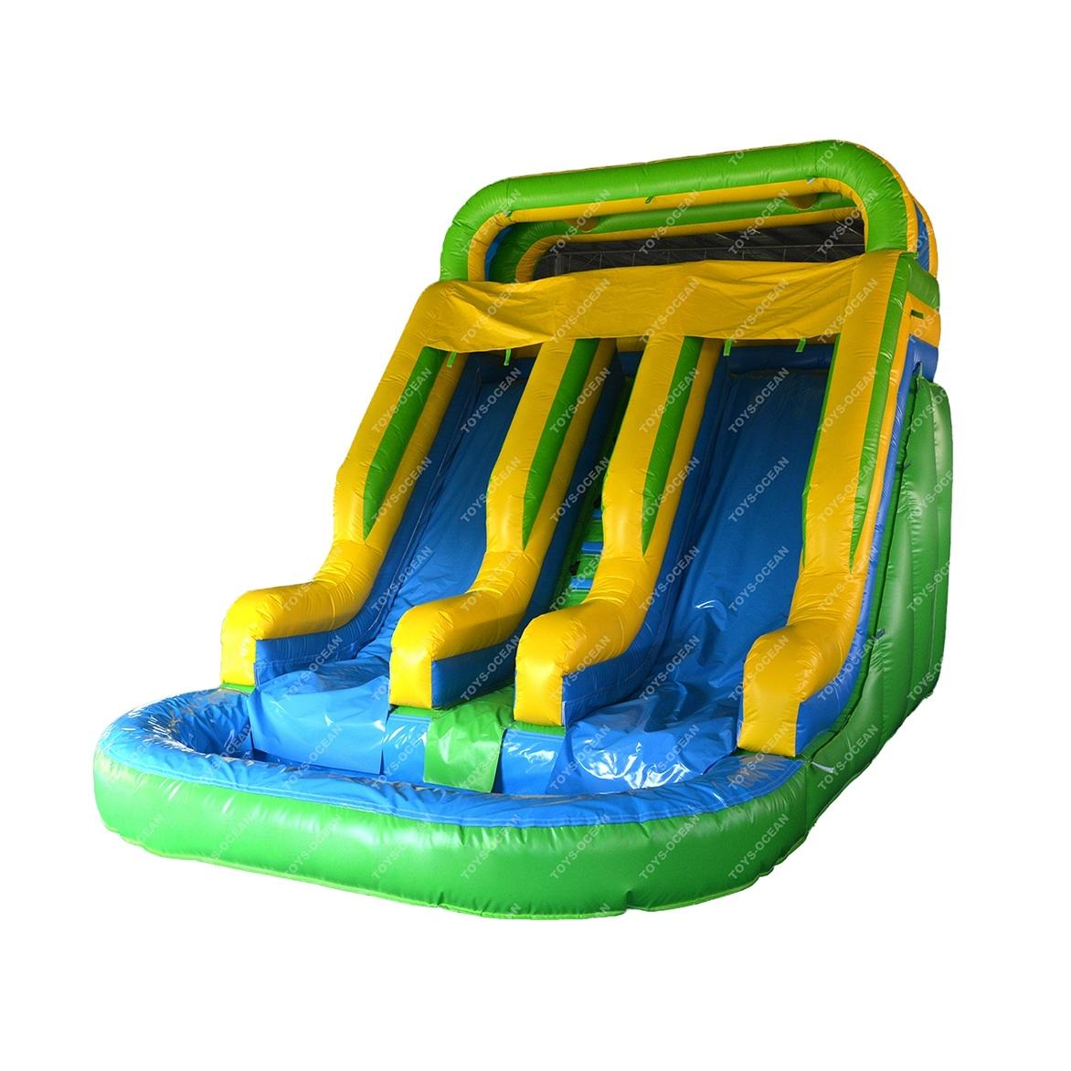 2020 new arrival Blue Adults and Kids Inflatable water slide with big swimming pool for rental or sale
