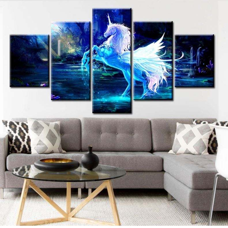 5 Panels Painting Home Decor Canvas Wall Art Picture Prints Waterproof Wallpaper Pictures Hotels Anime Poster Led Unicorn