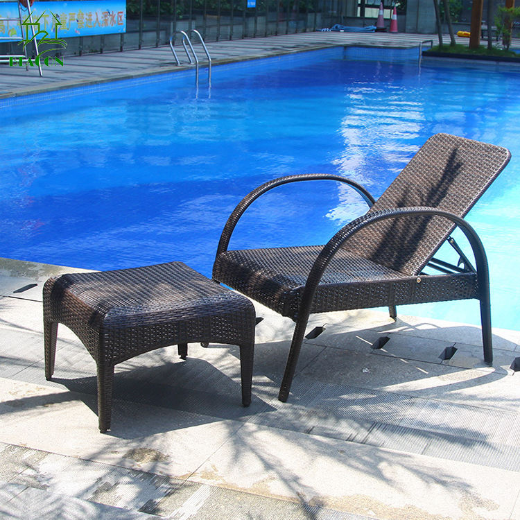 Wicker Chaise Lounge Chair Patio Liege im Freien Sun Lounge Chair