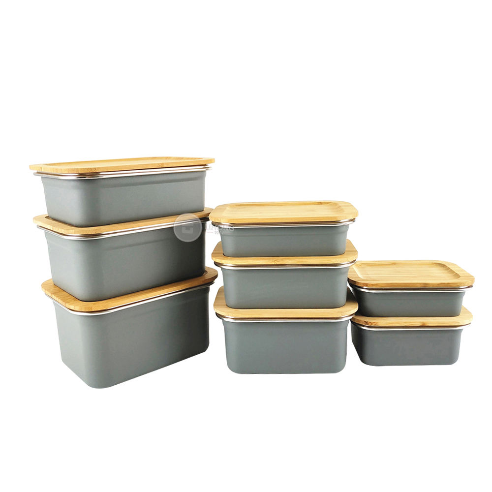 LIHONG Leakproof Lunch Box Design Custom Containers Takeaway Food Storage Steel Bento Boxes Bamboo Bento Box For Lunch