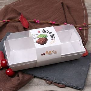 Wholesale cake pastry paper box sushi paper box with clear PET cover