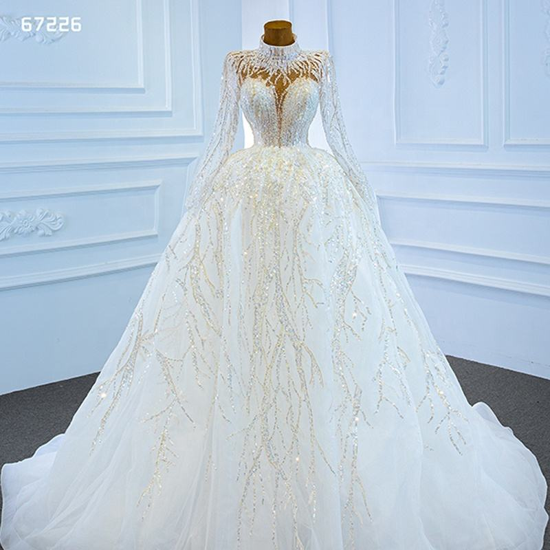 Jancember ARSM67226 Gorgeous Appliques Vintage Long Sleeve Wedding Gowns Dress Bridal