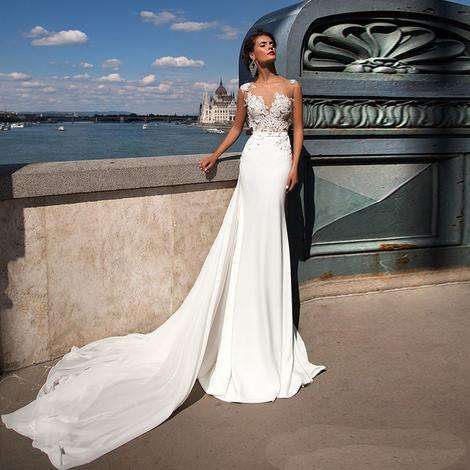 PJ2371A Europe and America women wear lace V-neck backless wedding gown