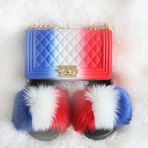 2021 Purses for Women sandalias de mujer brand designer slides women fur slides fur slides and matching purse
