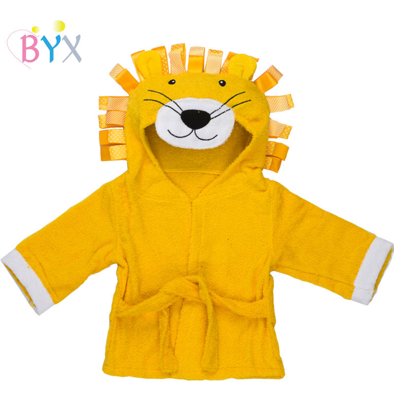 pure cotton 0-36 months embroidered animal lion baby hooded towel kids toddler robes soft absorbent bathrobes