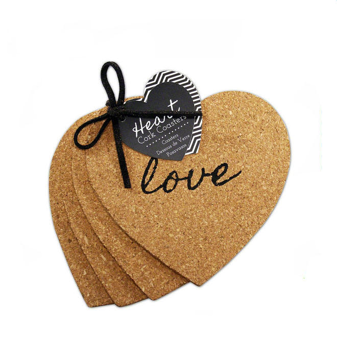 Mats & Pads Table Decoration & Accessories fashion heart shape cork coaster