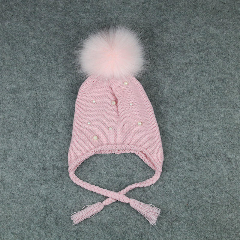 Custom winter faux konijnenbont bal roze baby boy knit beanie hat