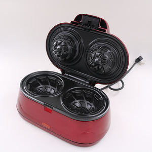 Electric double mini waffle bowl maker