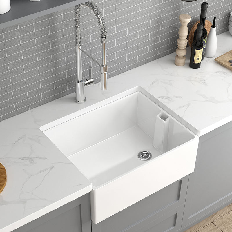 600mm Undermount Farmhouse White Ceramic Kitchen Sink