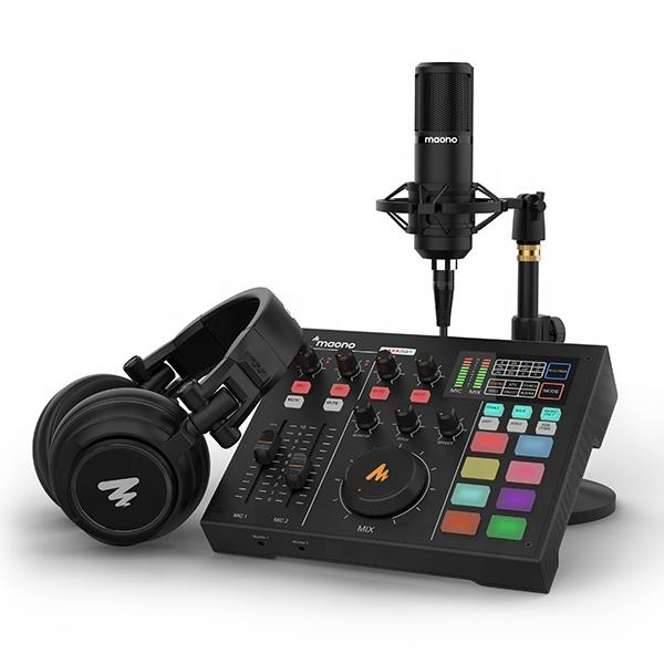MAONOCASTER AM100 k2 Sound Card With Desktop XLR Microphone and Monitor Headphone All-In-One Podcast Production Studio Kit