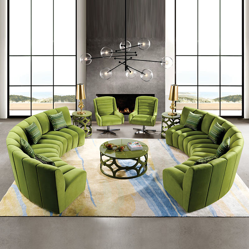 Modern hotel reception sofa Furniture Green round circular velvet Living Room Sofas set