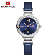 NAVIFORCE NF5007 Fashionable Rhinestone Quartz Girl Watch Stylish Leather Strap High Quality Girls Ladies Watches
