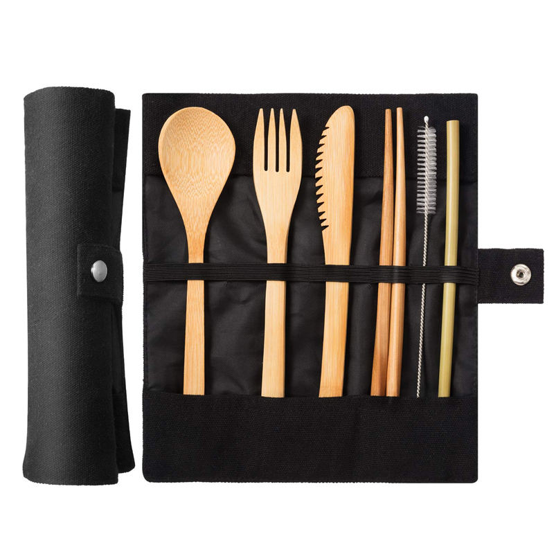 Portable ECO Friendly Reusable Bamboo Travel cutlery set with pouch