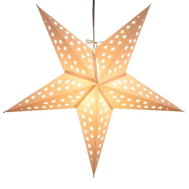 Christmas Paper Crafts and Projects Colorful Paper Star Lanterns Matt Color LED Lights