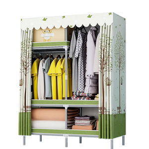 DX130 Factory sell cheap clothes storage galvanized steel tube frame fabric cover folding wardrobe for stock