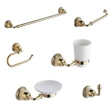 6 pieces Luxury gold design wall mounted Brass bathroom accessories set