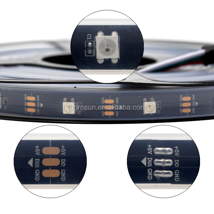 5M WS2812B WS2812 2812 30 leds/m Pixel LED Strip Light 5050 SMD RGB White PCB IP67 Tube Waterproof 5v DIY