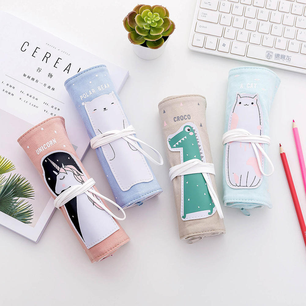 Creative student stationery marble creative cartoon animal roll pencil case cotton linen curtain case pencil