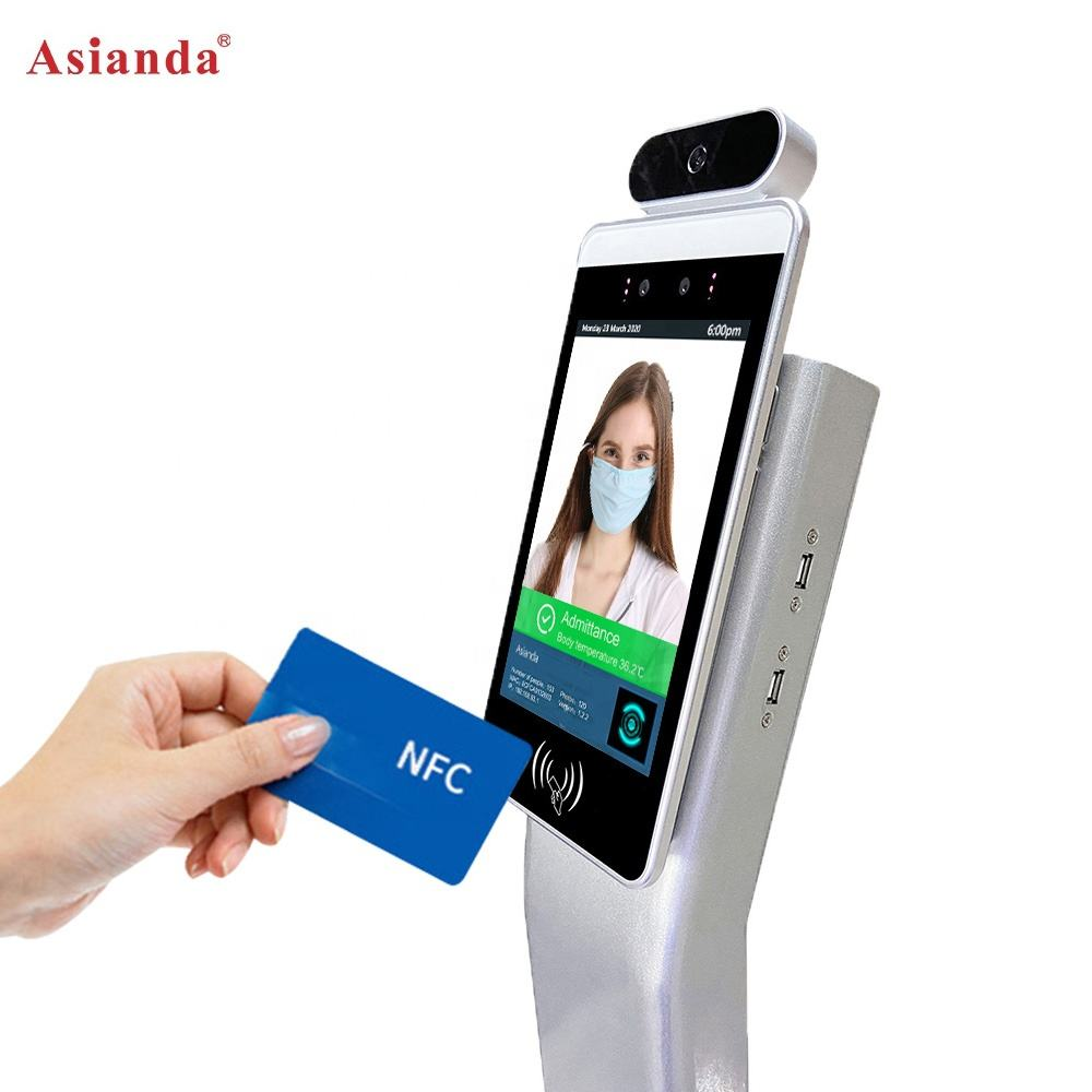8 'IPS High Temperature Detection Face Recognition IC Card Scanner Kiosk Video Technical Support Free Spare Parts Indoor TFT