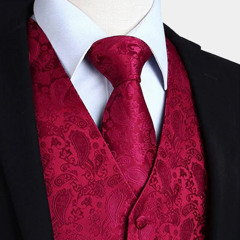 Fashion Custom Colorful 100% Polyester Vest And Neck Tie Set For Men