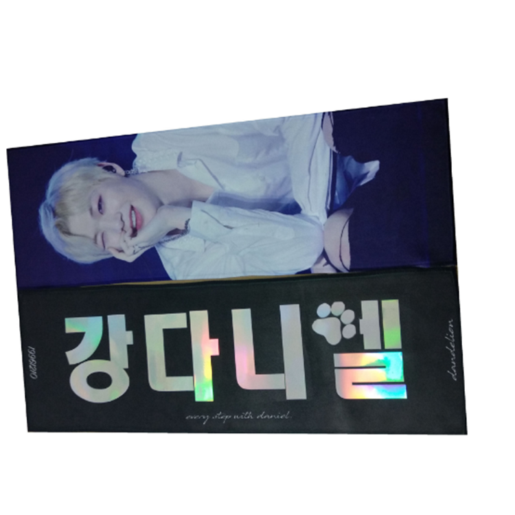 Low MOQ Double Side Print Reflective Paper Kpop Slogan Banner towel
