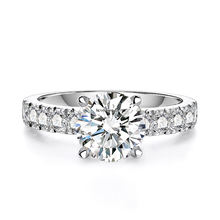 10k white gold 2 carats round cut D color VVS moissanite rings jewelry women 10k gold rings