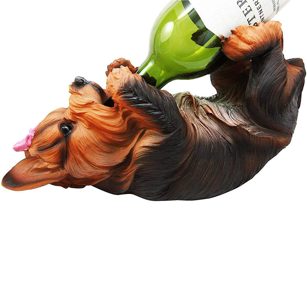 Factory Directly Tabletop Decorative Cute dog Resin Wine Bottle Animal Holder for Sale