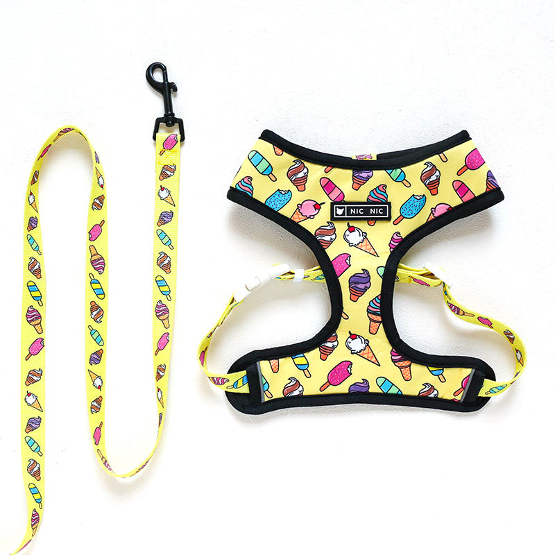 Latest Desirable Adjustable Polyester Pet Lovely Dog Harness Leash Set