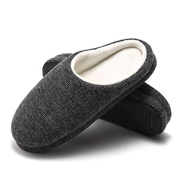 Men's House Slippers Memory Foam Breathable Knitted Cotton Slip-on Clogs Anti-Skid Indoor/Outdoor Shoes