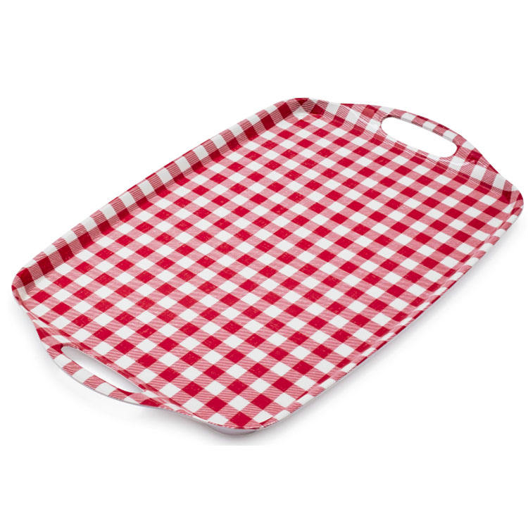 BSCI Red White Gingham Check Plaid melamine serving tray with handles