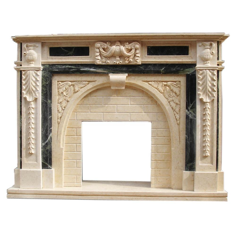 New design Natural beige stone marble fireplace for home decor