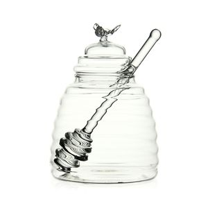 Handmade Glass honey jar honeycomb shape storge jar for the honey