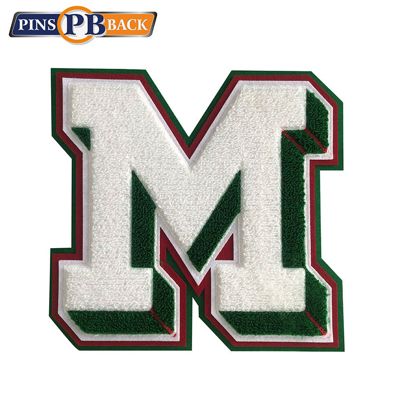 Applique green white letters quilting embroidery 3D clothing patches badges adorn good quality custom free design NO MOQ