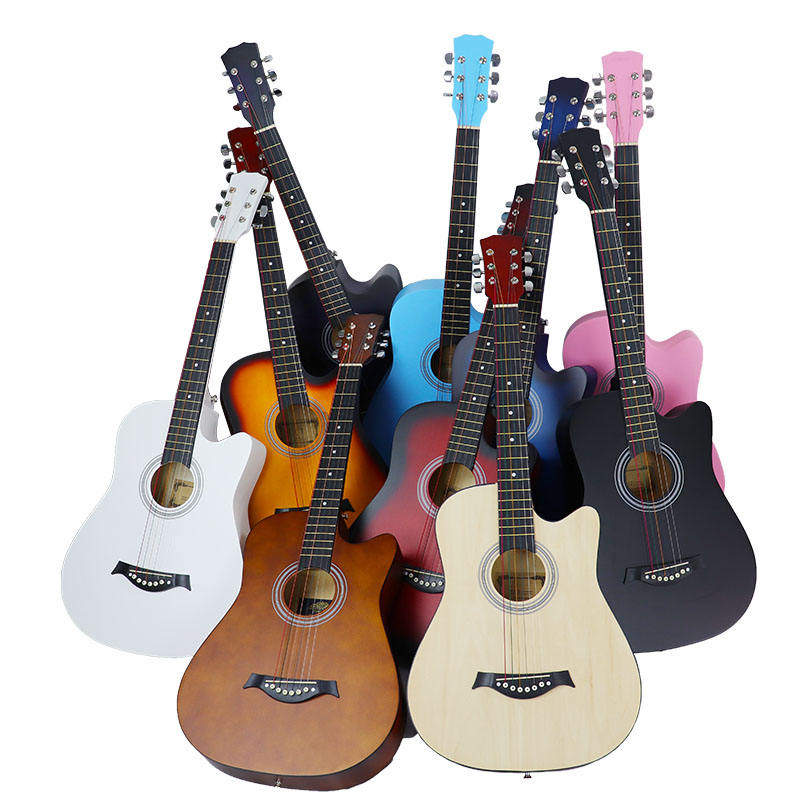 38-inch folk guitar full basswood plywood beginners teach themselves factory wholesale guitar instruments