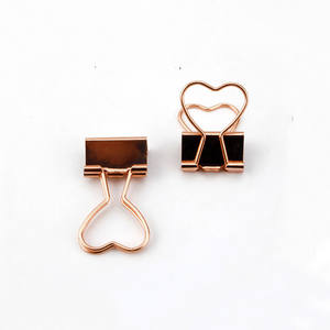 Oro rosa en forma de corazón de fold back clips de metal binder clips 12pcs documento clips
