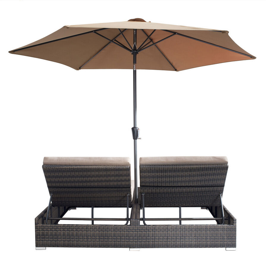 Green outdoor rattan antique style double chaise lounge