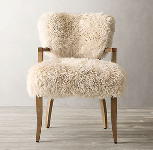 Home furniture gently flared back and padded seat living room dining chair sheepskin armchair