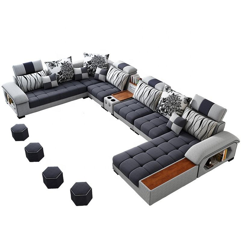 Home furniture hot sale new arrival adult sectional corner 7 seater U shape latex fabric modern living room sofas manufacturer