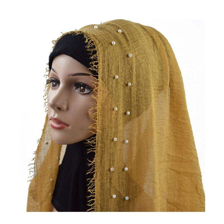 Wholesale women eyelash shawl new fashion hijab scarf 2019 muslim with pearl